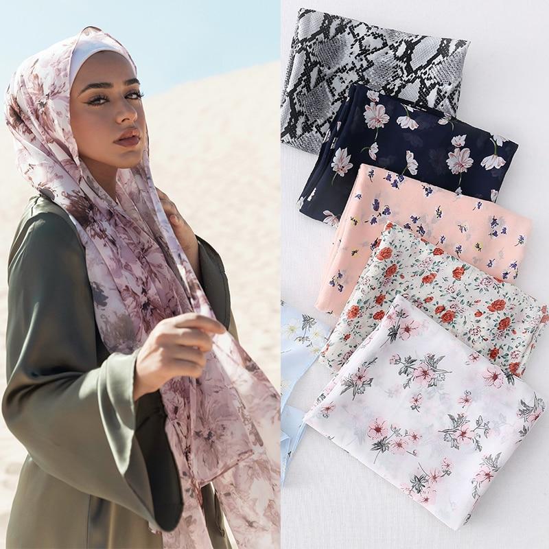 Floral Printed Chiffon Hijab Scarf Women Muslim Hijabs Head Scarfs African Shawls and Wraps Turban Islam Scarves Foulard Femme premium floral printed chiffon hijab scarf women muslim headscarf shawls and wraps islamic scarves turban headband foulard femme