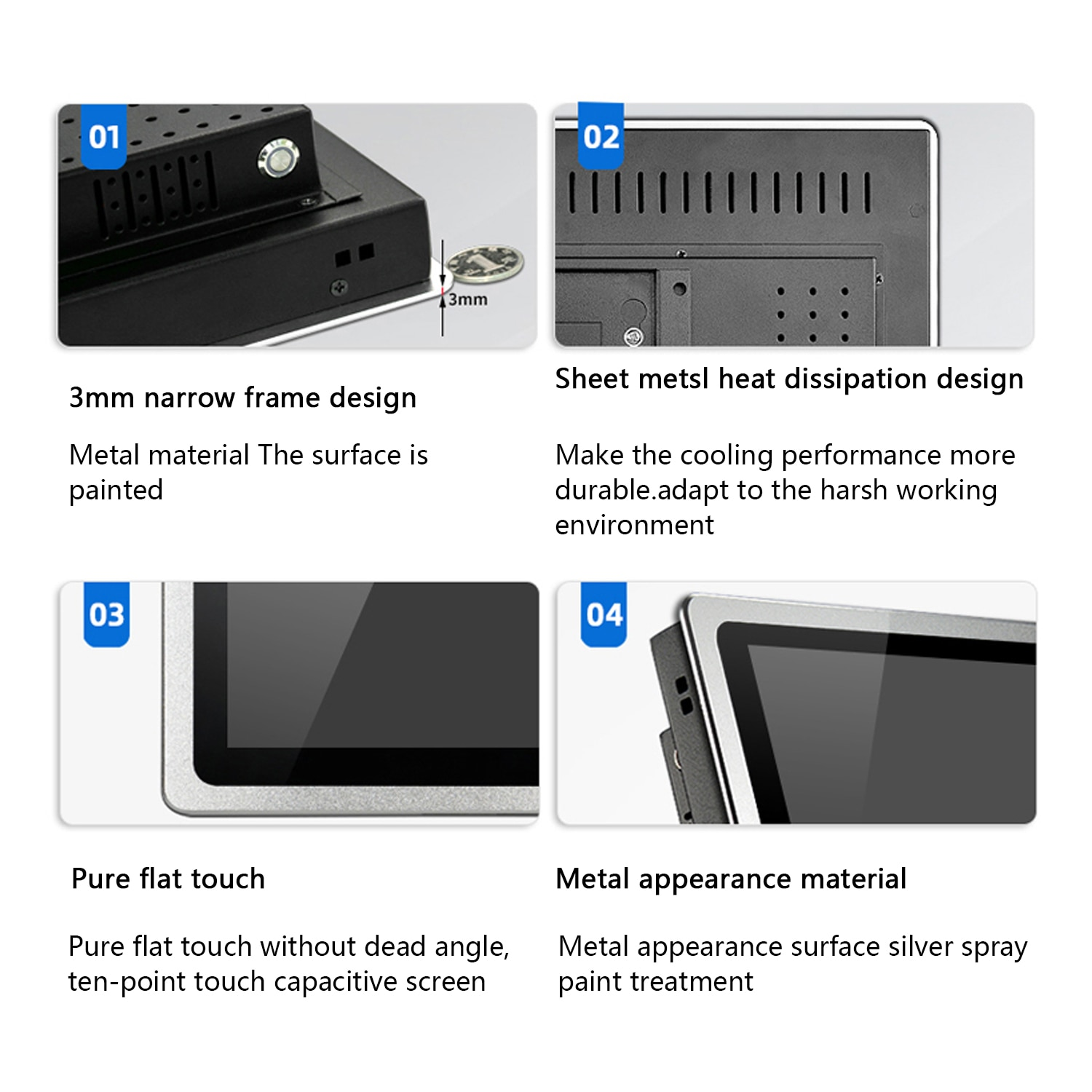 10 12 15 17 inch Industrial PC monitor Capacitive touch Screen With VGA HDMI/Touch USB interface Tablet display Support OEM ODM