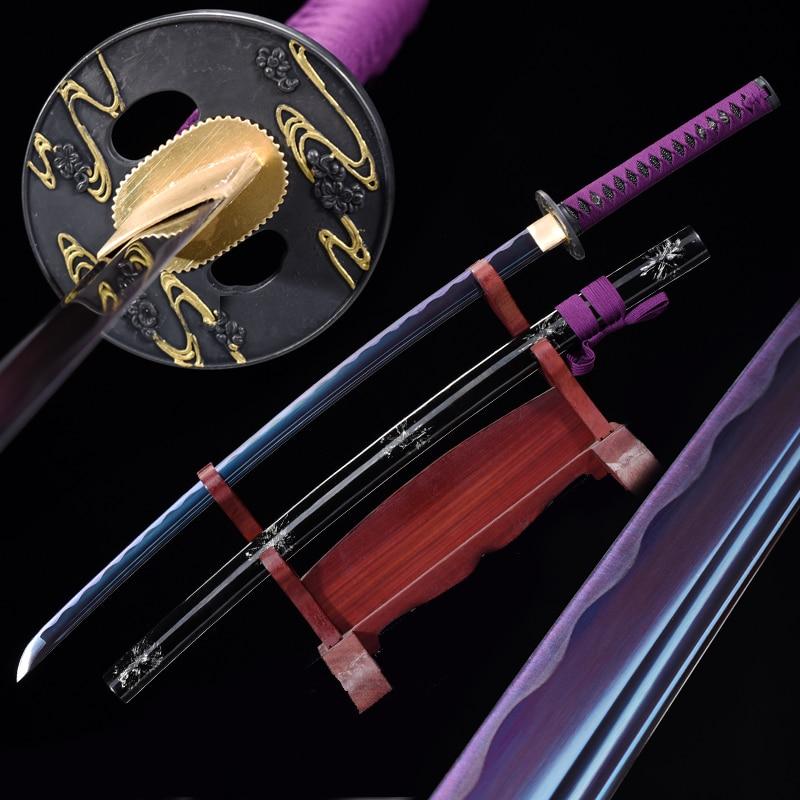 مصنوعة يدويا الأرجواني اليابانية الساموراي كاتانا السيف الحقيقي 1045 الكربون الصلب كامل تانغ شفرة الحلاقة شارب معركة جاهزة قطع الممارسة