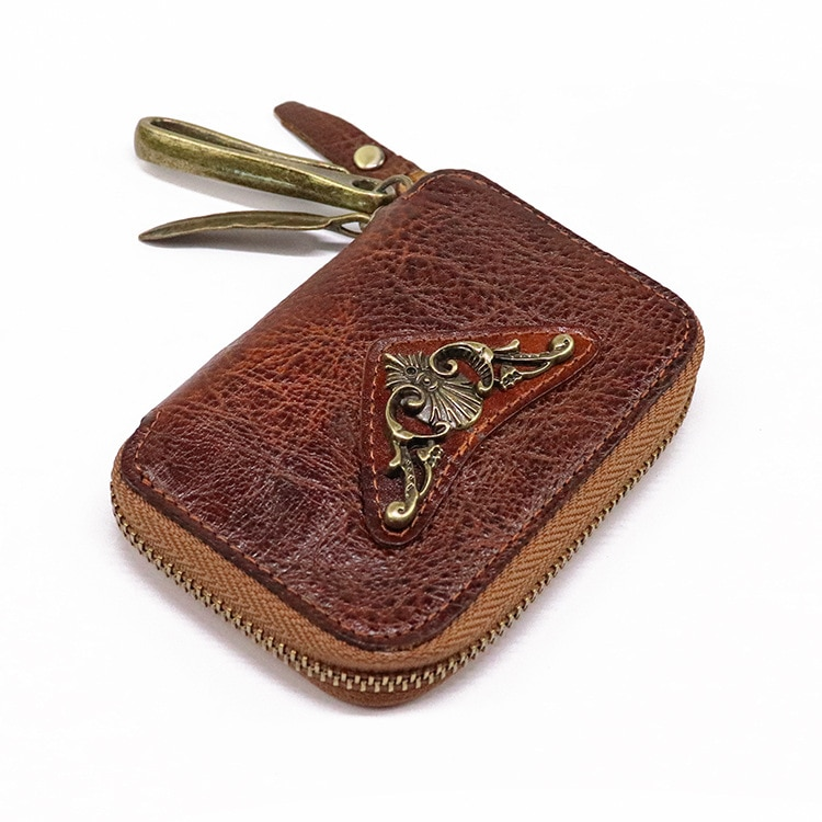 Top Quality Leather Leather Keychain Men Key Holder Organizer Pouch Cow Genuine Leather Key Wallet H