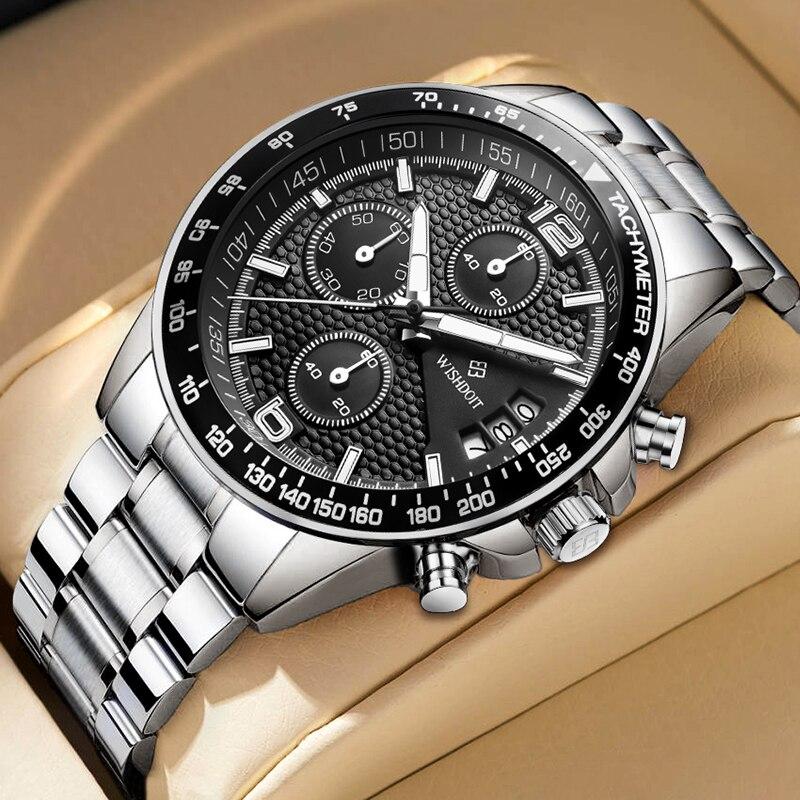 ساعة رياضية رجالية فاخرة ساعة كرونوغراف حزام من الجلد حزام ناقل من الفولاذ موضة كوارتز ساعة مقاوم للماء مضيئة