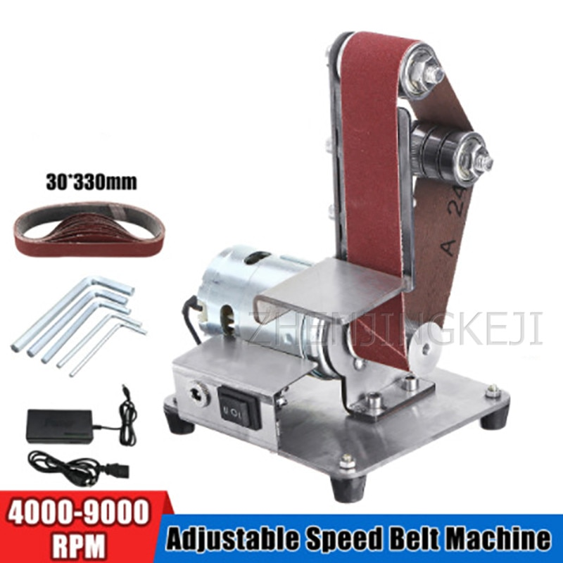 Small Electric Abrasive Belt Machine Sander Belt Grinder Polisher Vertical Sharpener Grinding Machine Woodworking Tools Home DIY