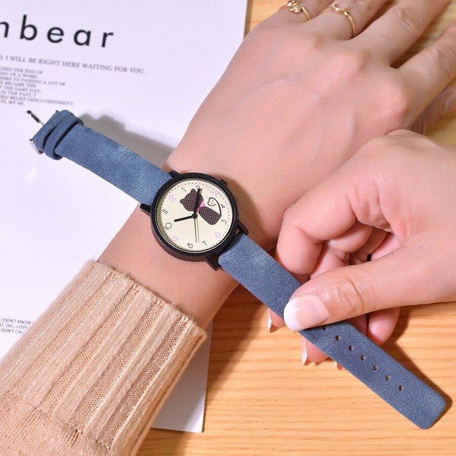 Bonitos relojes con dibujos de gato para niños, relojes de pulsera de cuarzo de cuero verde Vintage para mujer, relojes de pulsera informales para niñas y niños, regalos