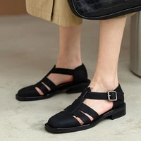 2021 women pumps square high heel women shoes platform buckle round toe all match out door black women sandals size 34 40