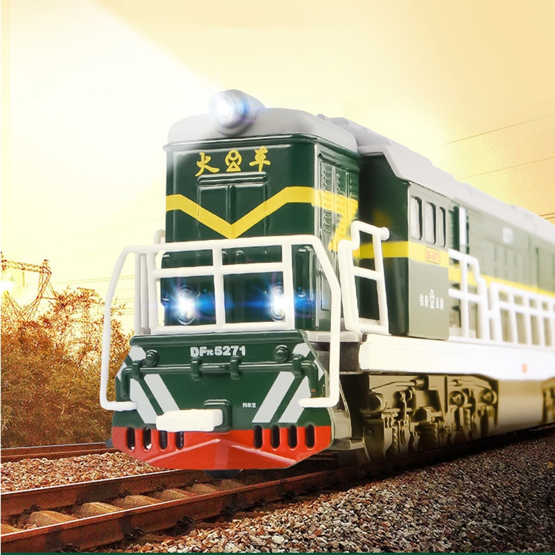 1/87 China Dongfeng Series Train Model Green Simulation Steam Locomotive Alloy Toys With Pull Back Sound Light Function Boy Gift