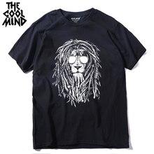 COOLMIND QI0124A 100% coton cool lion imprimer à manches courtes hommes t-shirt décontracté col rond été hommes t-shirt ample t-shirt t-shirt