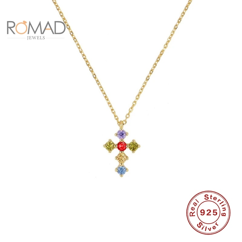 ROMAD 925 Sterling Silver Colorful Cross Pendant Necklace For Women Zircon Clavicle Gold Necklaces Fashion Jewelry Collares