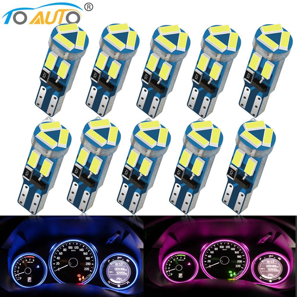 10 Uds T5 W3W W1.2W 27 74 86 206 7SMD 4014 Led luz Interior del coche Auto cuña lateral LED Auto instrumento lámpara 12V clúster luces