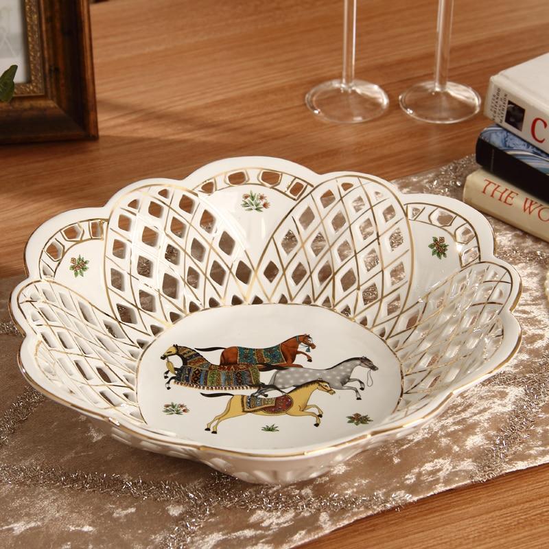 """12 """"hueco Plato de frutas de cerámica bandeja de dulces de frutas bandeja de almacenamiento en casa Decoración de mesa de boda de decoración del hogar regalo"""