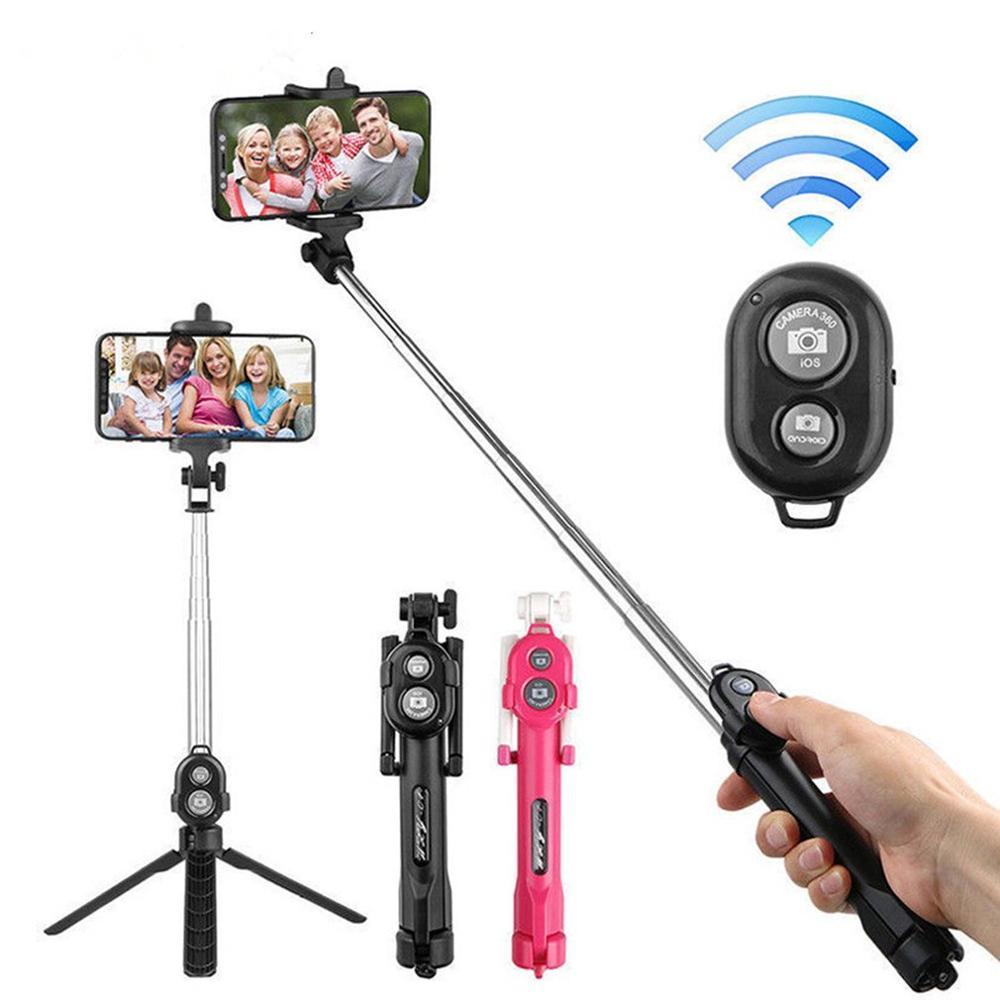 3 em 1 sem fio bluetooth selfie vara handheld monopod obturador remoto dobrável mini tripé para iphone xr 8x7 6s plus xiaomi