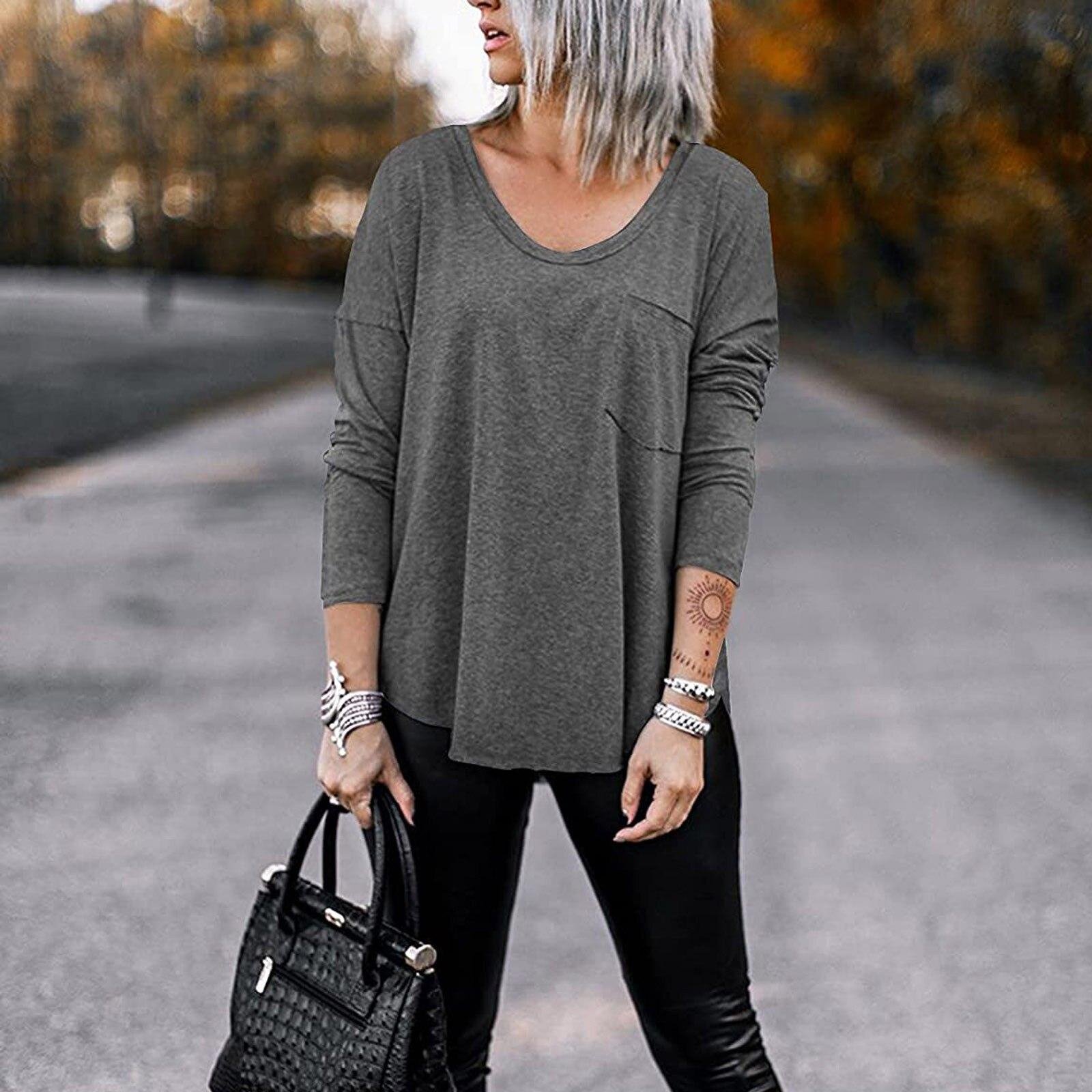 Camiseta De Manga Larga para Mujer, camisas informales De cuello redondo con...