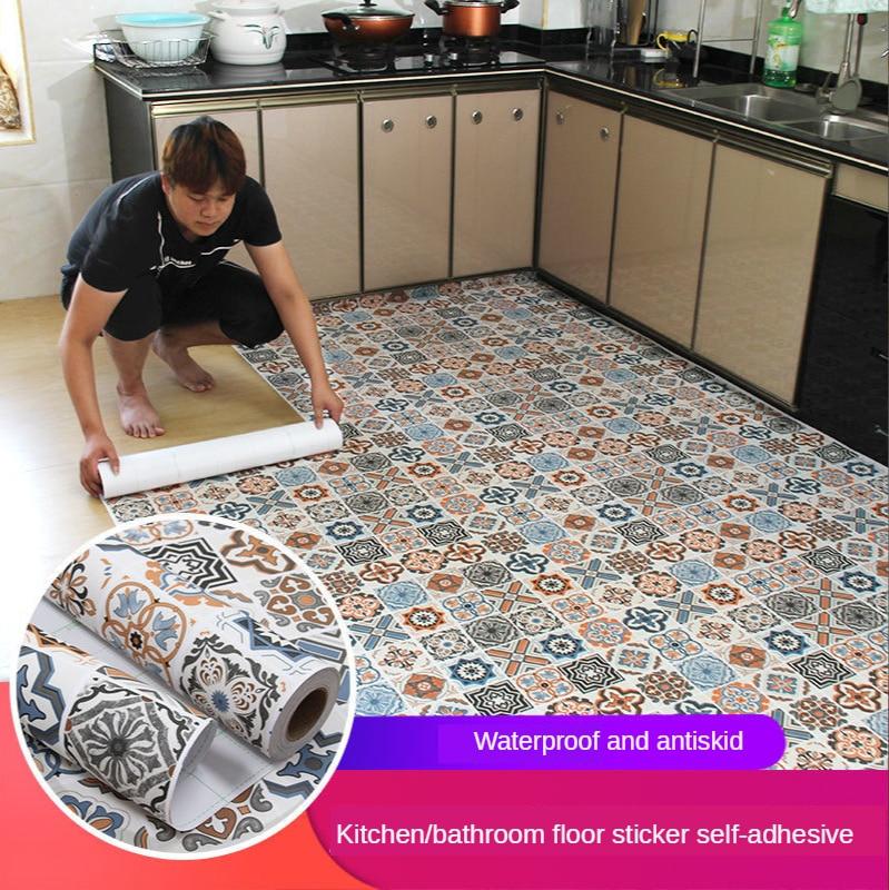 Floor stickers self-adhesive bathroom floor stickers kitchen tile stickers decorative waterproof non-slip thick wear-resistant