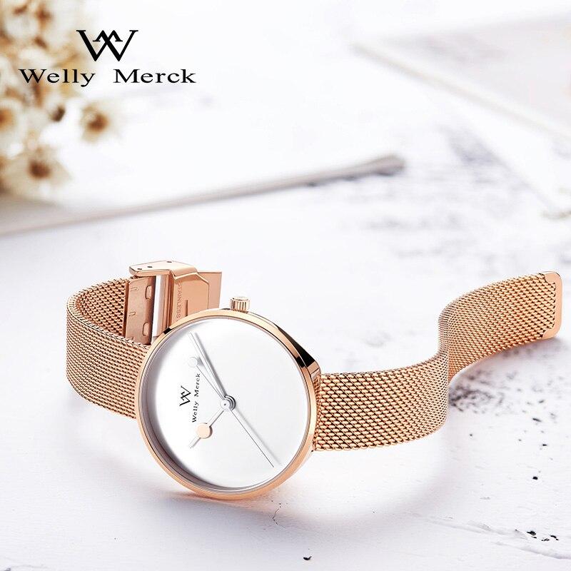 Welly Merck Luxury Brand Watches for Women Swiss Quartz Movement Waterproof Stainless Steel Mesh Ladies watch relogio feminino enlarge