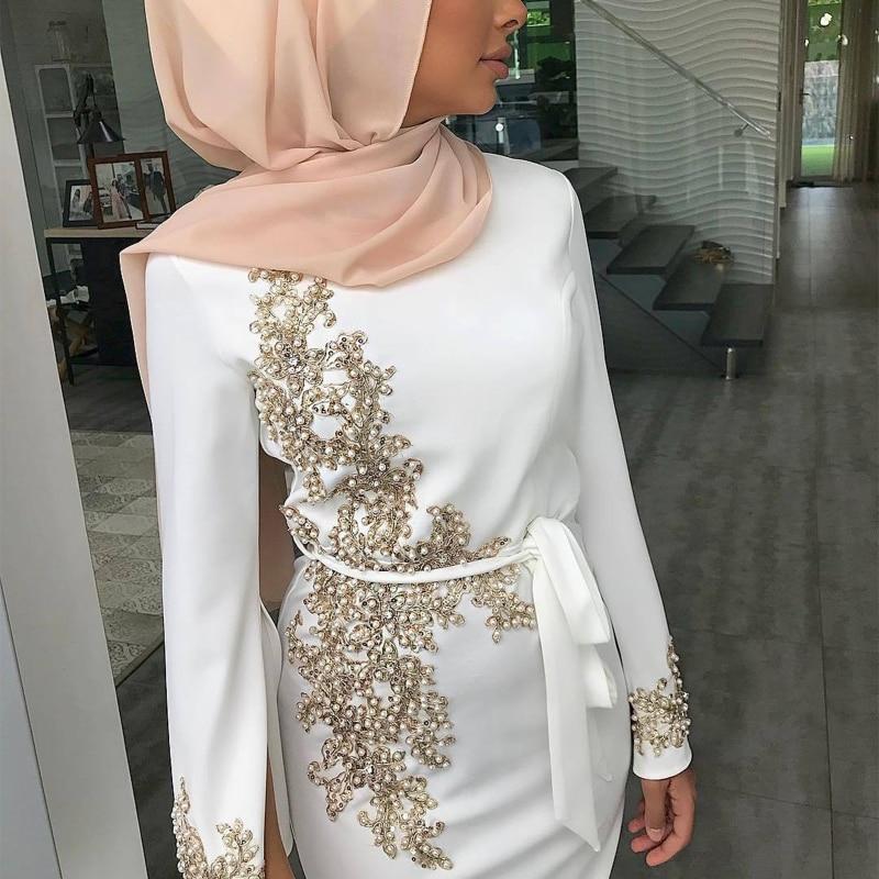 عباية-فستان ماكسي بأكمام طويلة للنساء المسلمات ، دانتيل زهري ، خرز ، خليط ، حجاب ، تركي ، قفطان ، الشرق الأوسط ، إسلامي