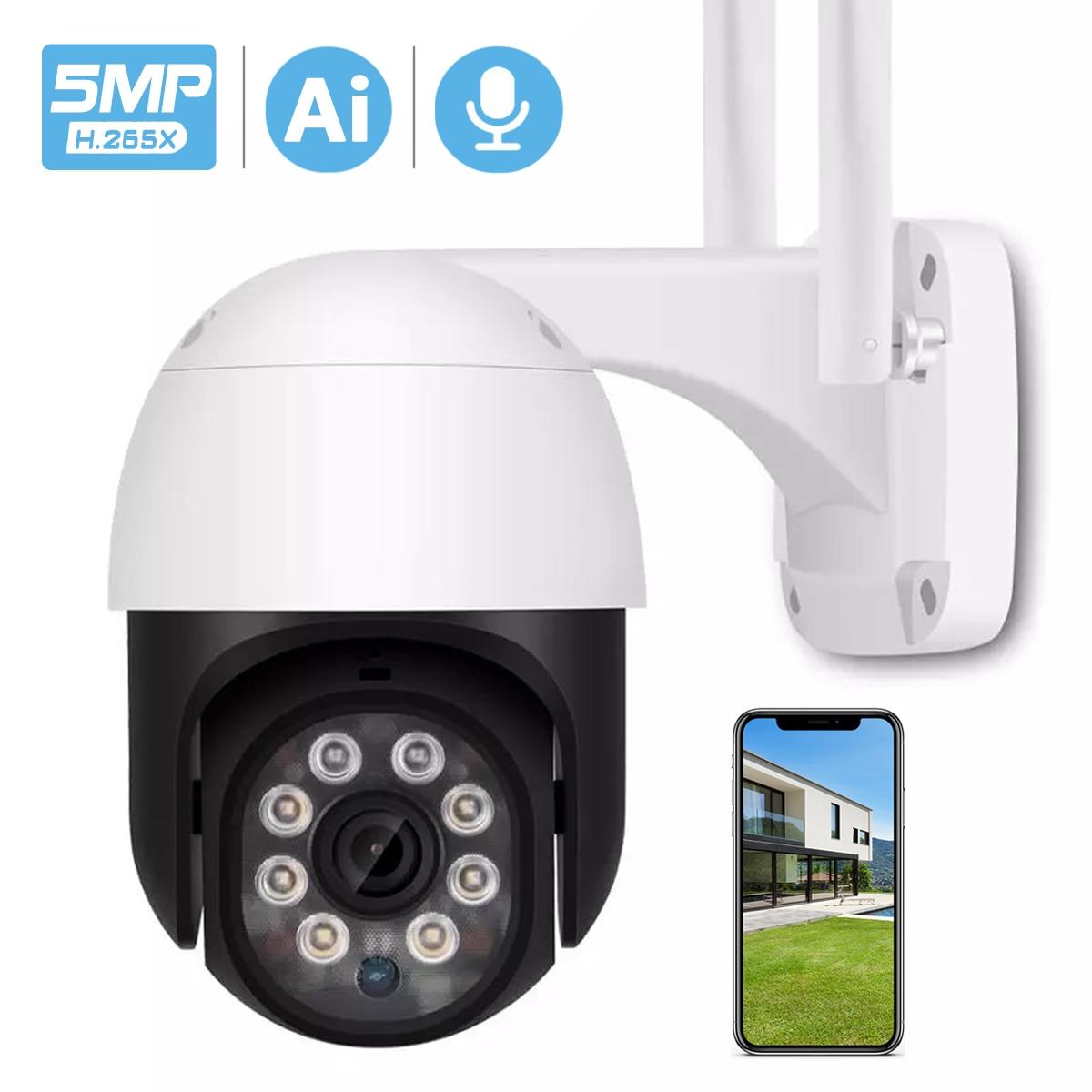 5MP HD PTZ Wifi Camera IP Outdoor Ai Human Detect Audio 1080P FHD IP Camera Color Night Vision 3MP Wifi Security CCTV IP Camera