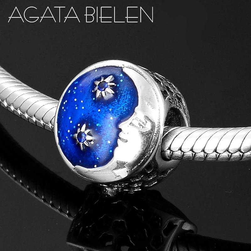 Mode chaude 925 argent Sterling lune Prince & météore Bue émail perles breloques ajustement Original europeu Bracelets porte-bonheur fabrication de bijoux