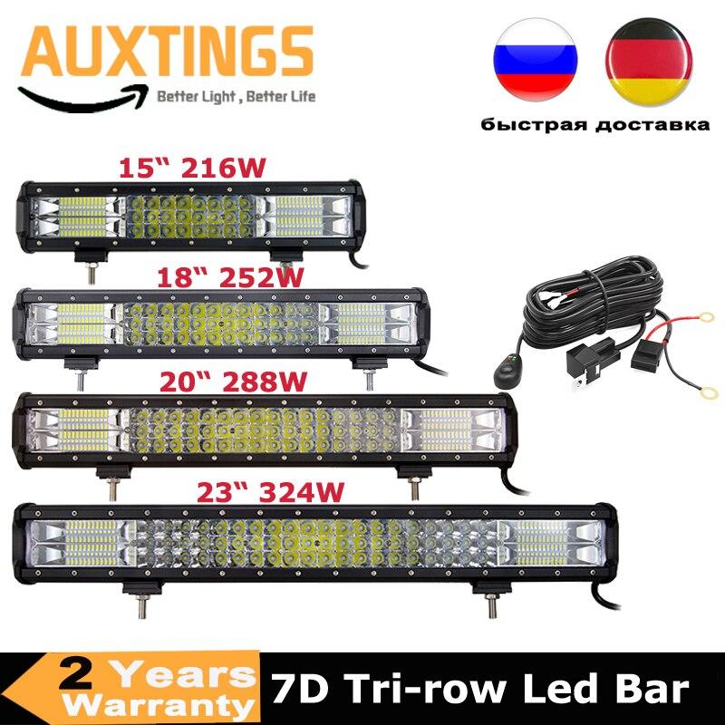 7D 15'' 18'' 20'' 23'' 216w 252w 288w 324w 3-Row LED Light Bar Offroad Combo Led Work Light Bar 12v 24v Truck SUV ATV 4WD 4x4