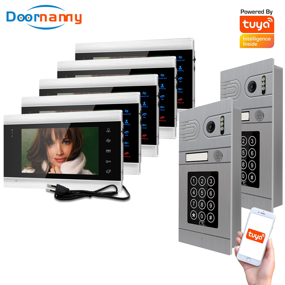 Doornanny 2 To 5 Doorbell Home Intercom Wireless WiFi Intercom Video Phone Doorman SmartLife Tuya 960P AHD Password Card Access