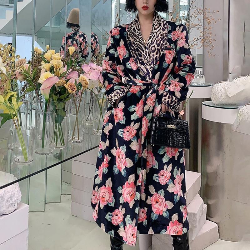 Женское длинное пальто с леопардовым принтом, модельное пальто оверсайз с поясом и винтажным принтом на осень и зиму, 2021