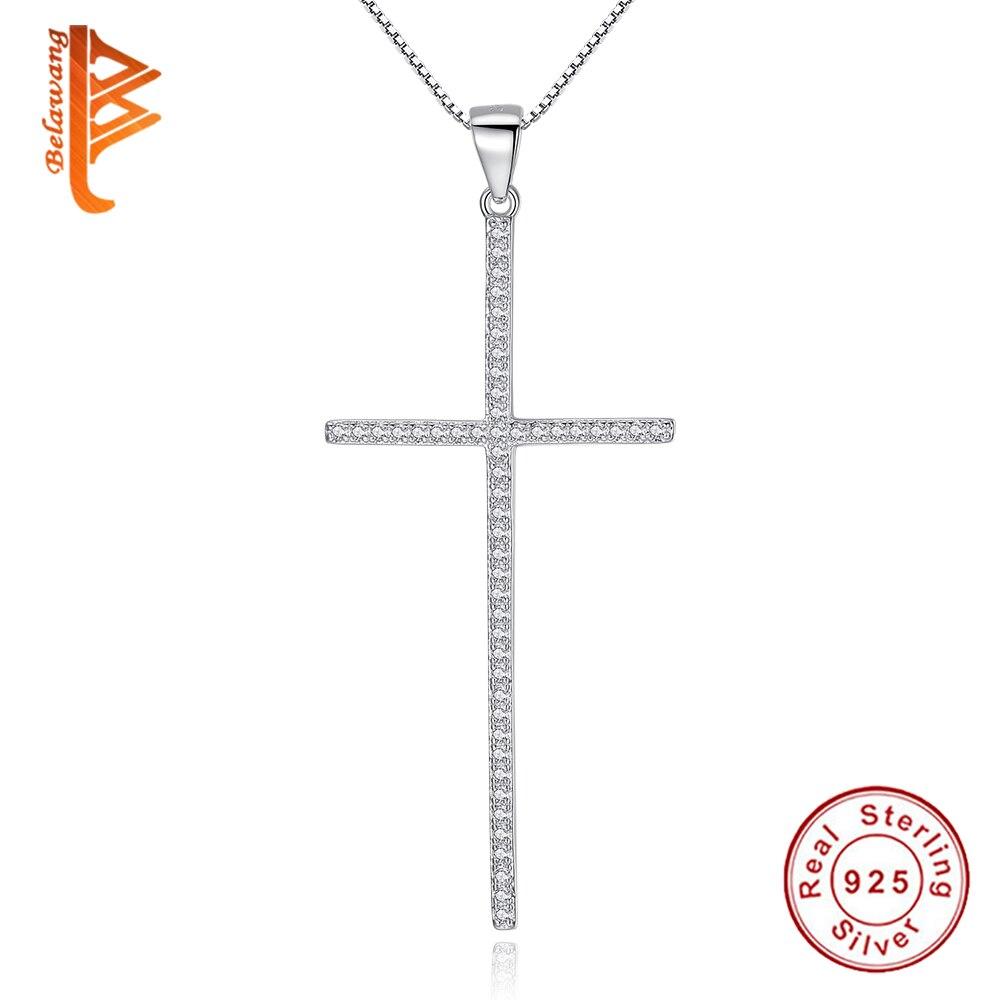 Collar y colgante de cruz de plata esterlina 925 BELAWANG, collar de Cruz de cristal de Zirconia cúbica brillante para mujer, joyería para mujer