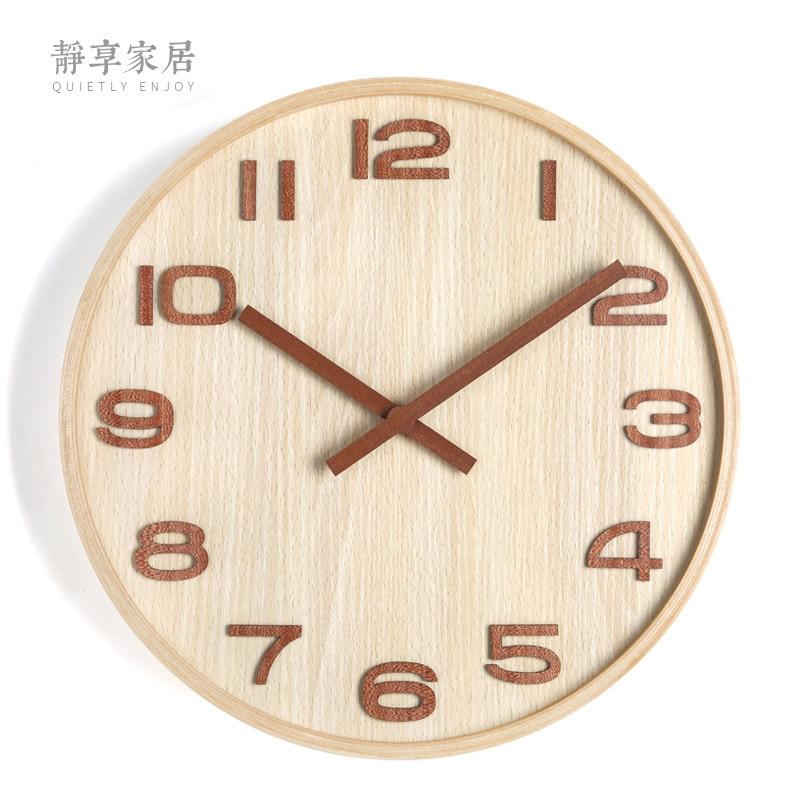 Reloj de pared marco de madera digital estéreo silencioso aguja de madera sol Noruega elegante log color digital estilo aguja de madera Reloj de pared