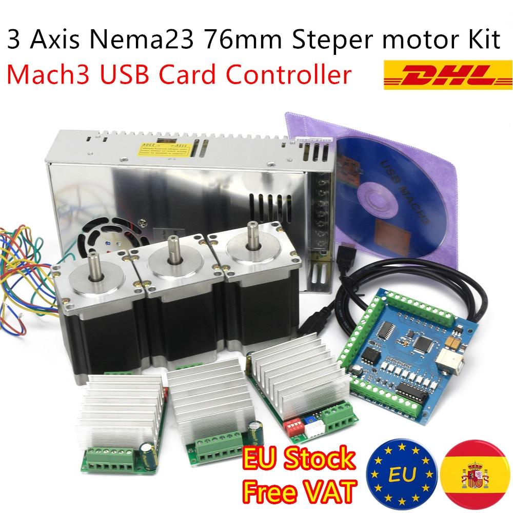 محرك متدرج Nema23 ، 3 محاور ، تحكم CNC ، 270oz-in 76 مللي متر ، TB6600 ، محرك وبطاقة USB Mach3 ومصدر طاقة 24 فولت