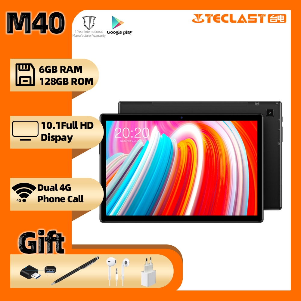 Tablet M40 10.1 inch Android 10.0 tablet PC 6GB RAM 128GB ROM 8MP Camera Dual 4G Phone Call Bluetoot