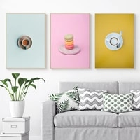 colorful coffee cake milk canvas painting nordic minimalism wall art home decoration posters and prints pictures for restaurant