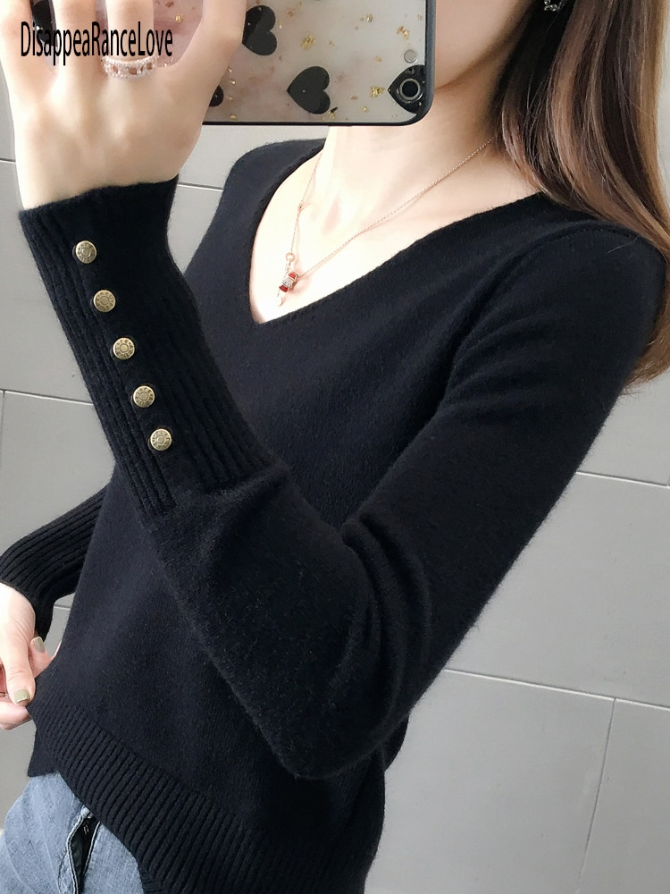 Women Sweater Blue V-Neck Winter Fashion 2021 Clothes Batwing Sleeve Solid Casual Pullover Korean Kn