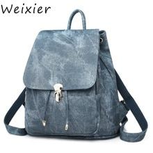 WEIXIER nouvelles femmes sac à dos 2 pièces/ensemble voyage sacs à dos avec pochette cartable pour adolescents étudiant livre PU cuir serrure sacs AL-23