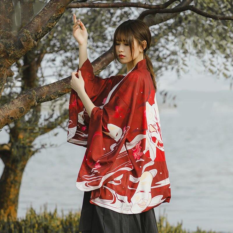 Kimono japonés tradicional Samurai Yukata mujer Haori Casual Anime imprimir camisa protección solar Kimonos mujer hombre chaqueta de calle abrigo
