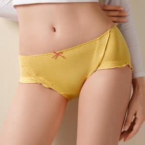 Japanese Lovely Lace Traceless Underwear Graphite Thin Antibacterial Women's Underwear Middle Waist Women's Cotton Briefs
