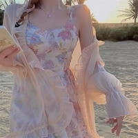 2021 summer new plus size womens gentle wind floral sling skirt womens french chiffon dress sunscreen two piece suit