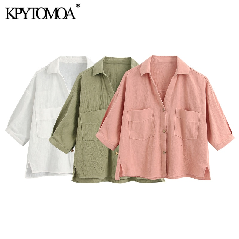 AliExpress - KPYTOMOA Women 2021 Fashion With Pockets Loose Cropped Linen Blouses Vintage Short Sleeve Side Vents Female Shirts Chic Tops