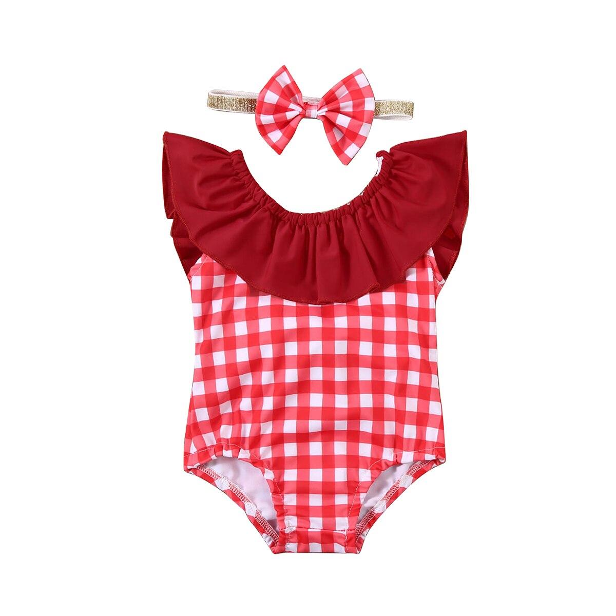 Traje de baño para niña pequeña, traje de baño de una pieza, traje de baño con volantes a cuadros, traje de baño para playa, traje de baño 6M-6T