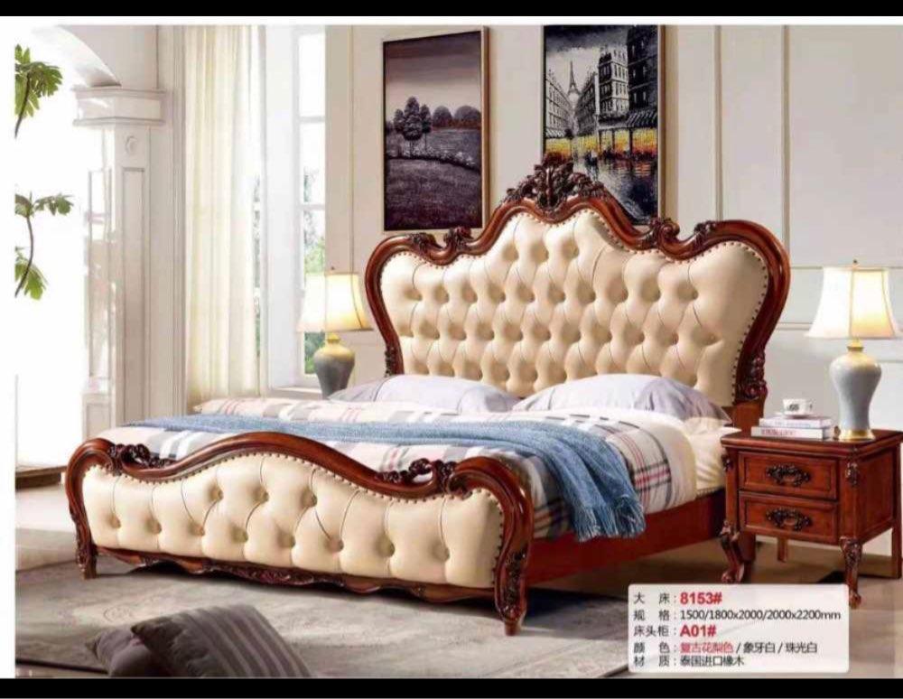 Moderne Europese Massief Houten Bed Mode Gesneden 1.8 M Bed Franse Slaapkamer Meubels DN2222