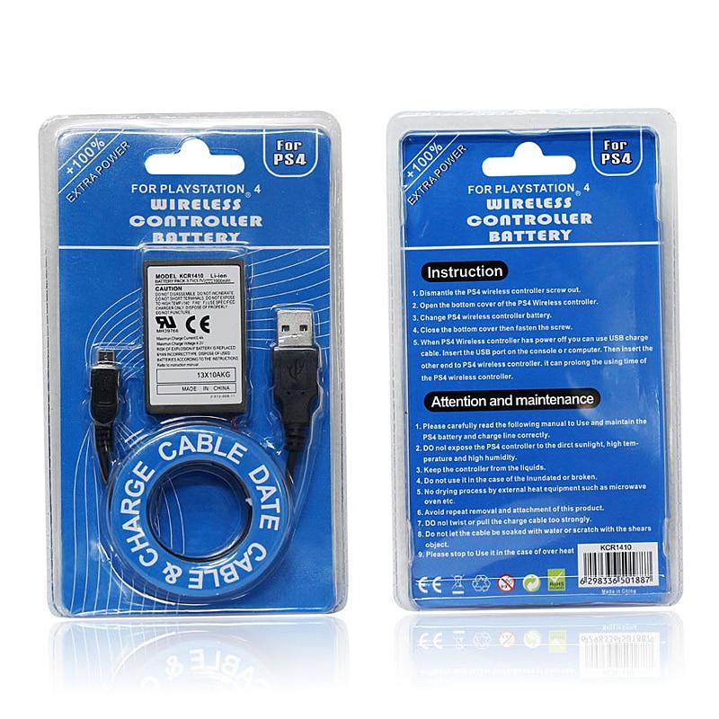 Batería recargable de 2000mAh para Sony PS4 Gamepad controlador inalámbrico cargador USB Cable batería para PS4 Dualshock 4 batería