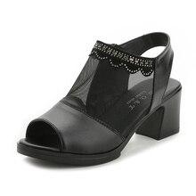 Summer 2019 Med Heels Gladiator Sandals Women Thick Heel Crystal Mesh Peep Toe Sandals Comfortable Black Sandalias Plus Size