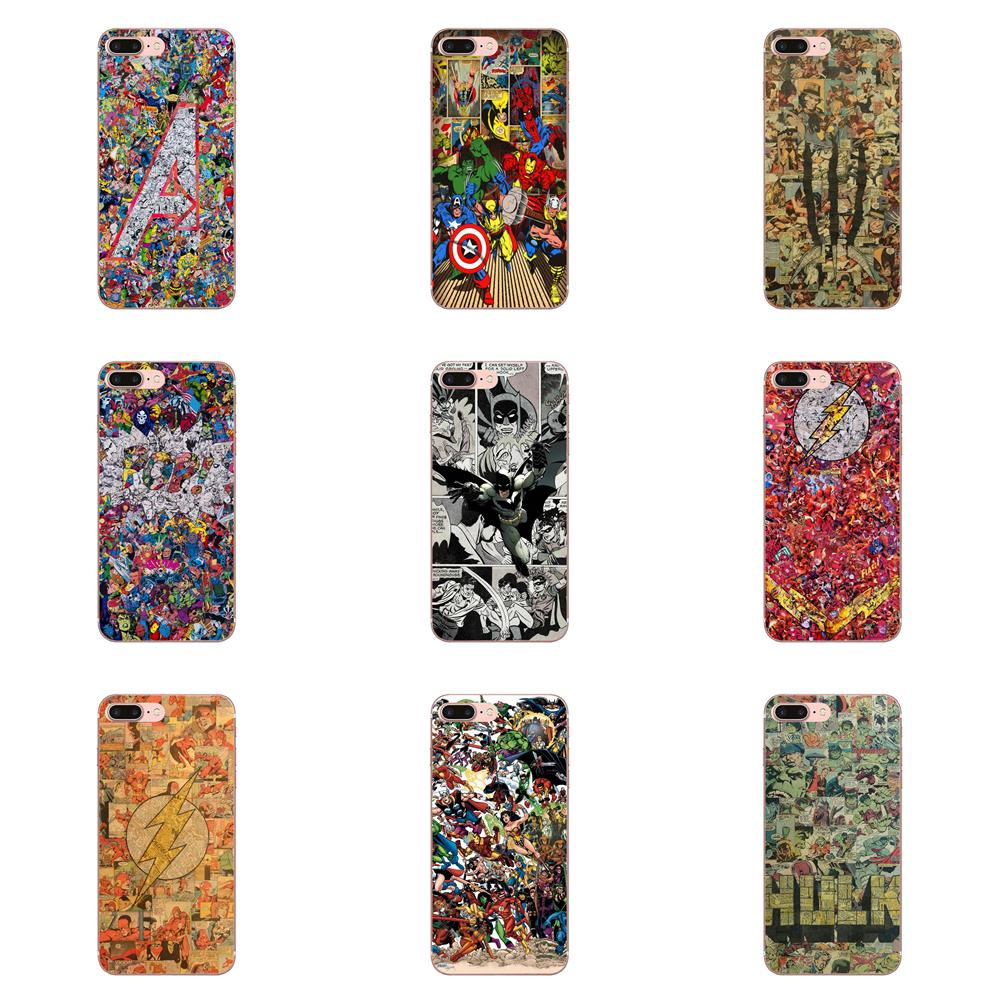 Soft TPU Bags Cases Superheroes Collage Comic For Samsung Galaxy A10 A20 A20E A3 A40 A5 A50 A7 J1 J3 J4 J5 J6 J7 2016 2017 2018