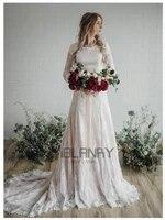 yilibere lace wedding dress retro simple beautiful long sleeve bridal dresses custom made plus size