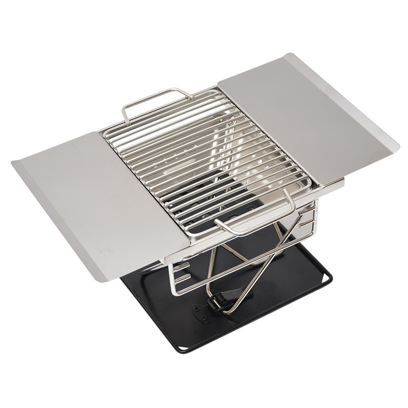 1-2 personas al aire libre Durable portátil de acero inoxidable BBQ Grill Home Picnic Cookware madera fuego plegable estufa portátil