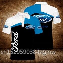2020 nova chegada ford verão impressão 3d dos homens de manga curta casual masculino polo topos camiseta roupas marca qualidade superior polo 5xl