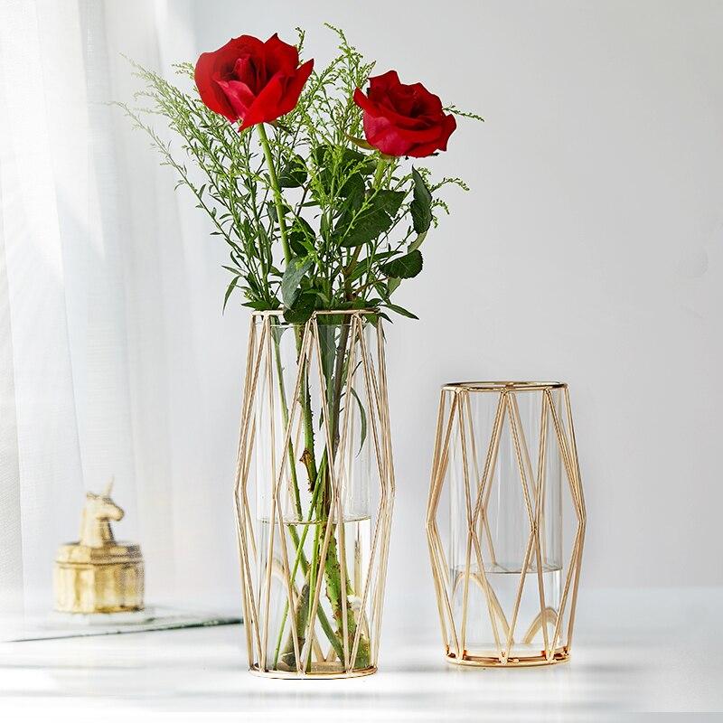 Jarrón moderno de Cristal para decoración del hogar, jarrón de planta transparente...