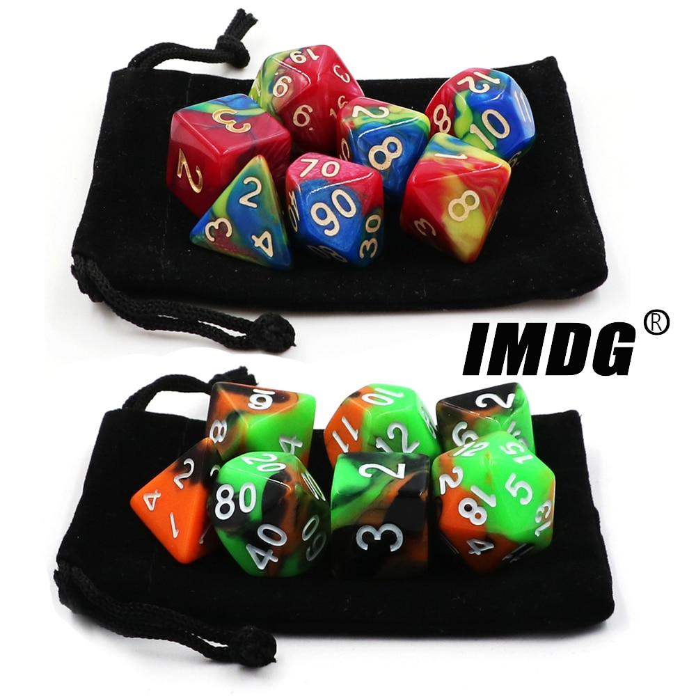 IMDG 7 pçs/set Criativo Jogo de RPG Game Dice Dice DND Dados Poliedro Acrílico Multicolor Digital