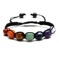 colorful natural crystal stone energy bead handmade rope braided charm bracelets for women men couple party club yoga jewelry