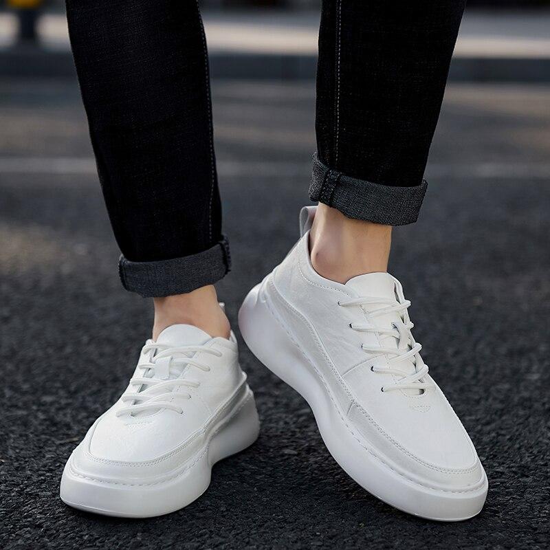 1330-حذاء رجالي كاجوال جلد اليدوية المتسكعون العلامة التجارية حذاء رجالي حذاء رجالي بدون كعب حذاء أبيض