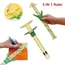 5-em-1 régua de calibre deslizante em retalhos com nancy ferramenta de costura de medição multifuncional retalhos alfaiate régua ferramenta acessórios