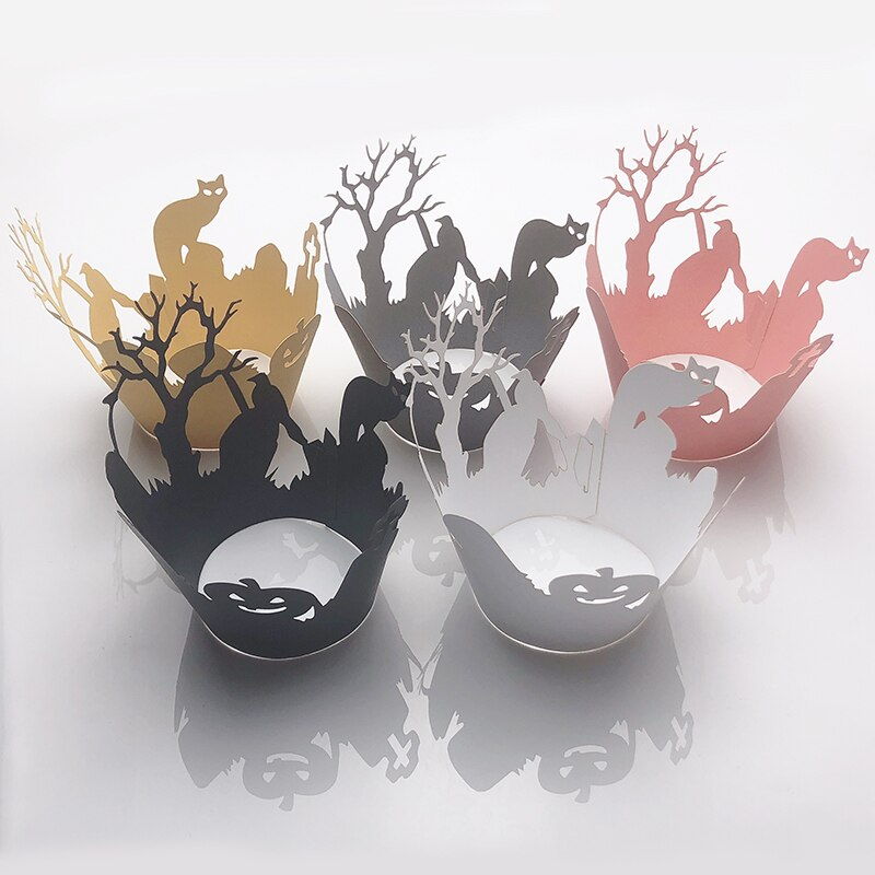 50 piezas gato pájaro árbol pequeña vid encaje corte láser cupcakes envoltorio para hornear copa de Horror accesorios fiesta de decoración de Halloween suministros