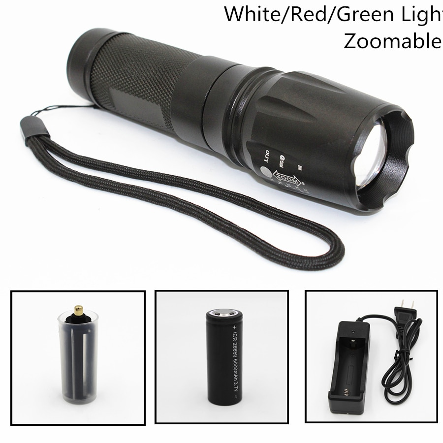tactical torch q5 r5 led 600lm light 802 flashlight white red green blue light for outdoor camping hunting Tactical LED Flashlight 1000LM XML T6 Q5 R5 Zoomable 5 Modes Aluminum 878 Torch Use AAA/18650/26650 White/Red/Green Light