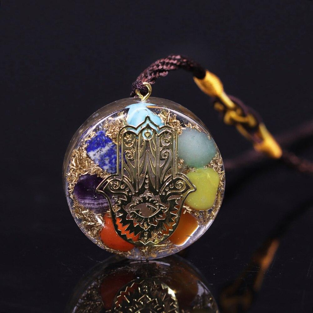 Colgante de orgonita, collar de 7 Chakras, colgante de energía Reiki, mano de Fatifa Yoga, joyería de meditación, collar de resina